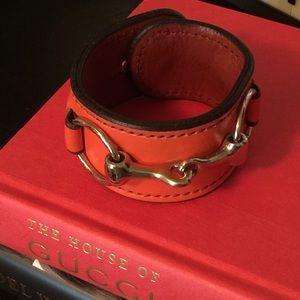 Orange Leather cuff horsebit bracelet